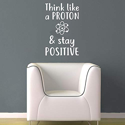 Wandaufkleber Kinderzimmer Wandtattoo Wohnzimmer Science Wall Sticker Think like a proton & stay positive Quotations motivational Vinyl Decal School Classroom Decor poster