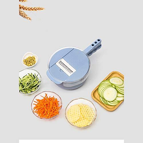 Gemüseschneider, Gemüsehobel, Gemüseschneider Sieb mit 4 Stück Auswechselbare Edelstahl Klingen, Eigelb-Abscheider, Auffangbehälter, Küchen-Mehrzweckreibe mit -