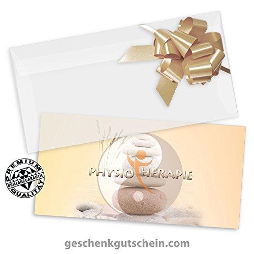 """10 Stk. Premium Geschenkgutscheine Gutscheine zum Falten""""Multicolor"""" + 10 Stk. Kuverts + 10 Stk. Schleifen für Physiotherapie MA221, LIEFERZEIT 2 bis 4"""