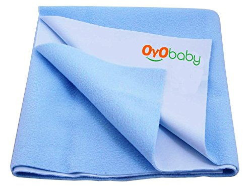 Oyo Baby Quickly Dry Super Soft, Reusable Mat Underpad Absorbent Sheets Mattress Protector (Size: 100Cm X 70Cm) (39 Inch X 28 Inch )Baby Blue, M