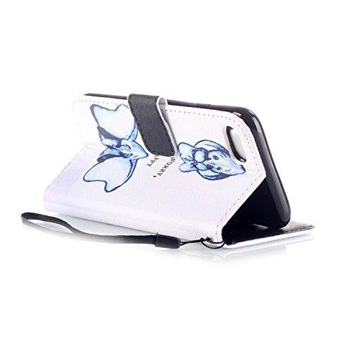 iPhone 7 Hülle,iPhone 7 Ledertasche Handyhülle Brieftasche im BookStyle,SainCat PU Leder Hülle Wallet Case Folio Schutzhülle Karikatur Muster [Scharfschütze-Don't Touch My Phone] Lederhülle Scratch Bu Zwei Dumbo