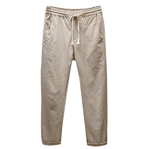 BOLANQ Herrenhosen Sommer, Männer Casual Leinen atmungsaktiv lose Lange Hosen einfarbig gerade Hosen(Large,Khaki)