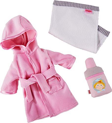 HABA 305238 - Kleiderset Badespaß, Puppenzubehör für alle 30 cm großen HABA-Puppen, Set aus Bademantel, Handtuch und Shampoo, ab 18 Monaten
