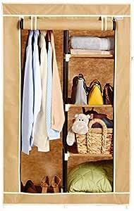 Amazon Brand - Solimo 2-Door Foldable Wardrobe, 5 Racks, Beige