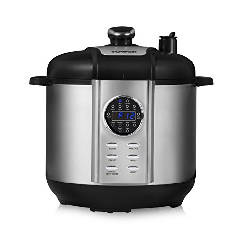 Tower Health T16005 One Pot Express 12-in-1 Electric Pressure Cooker, 6 Litre, 1100 Watt – Stainless Steel