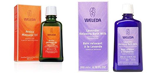 Weleda Arnika Massageöl + Weleda Lavendel Entspannende Bad Milch (Weleda Super Saver Bundle) (Entspannendes Bad Milch)