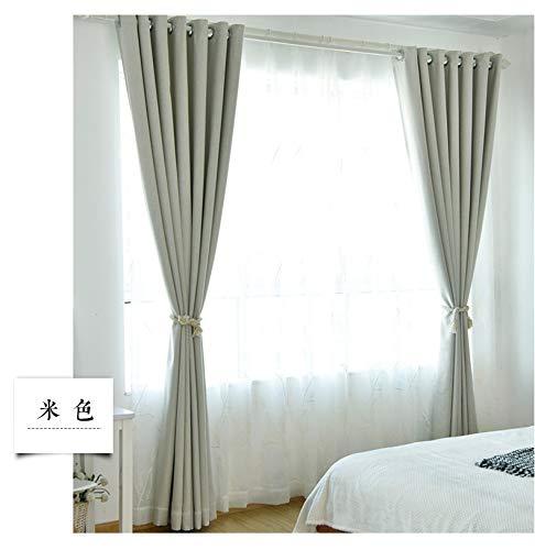Semplice moderno colore solido ispessimento tende oscuranti tessuto biancheria soggiorno camera da letto finestre dal pavimento al soffitto, 1pc (w200 * h260cm), beige
