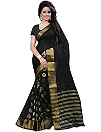 SilverStar Women's Cotton Silk Gold Woven Saree With Blouse Piece (SSS1069 Black Goli Sari Vhf2_Black_Free Size)