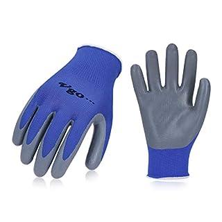 Vgo 10 paires de Gants de Jardin et de Travail en Revêtement de Nitrile, Multifonction(Taille,7/S,bleu,NT2110P10)