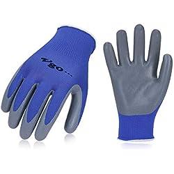 Vgo 10 paires Gants de Jardin et de Travail en Revêtement de Nitrile, Multifonction(Taille,9/L,bleu,NT2110P10)