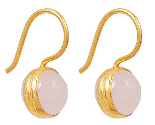 SARAH BOSMAN SAB-E04ROSQUAg - Orecchini da donna in argento placcato oro con quarzo rosa