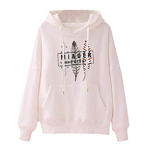 UFACE Femme Plume Imprimer Sweat-Shirt Hiver, Pullover Sweats Col Rond Casual Elegant Chemisier Streetwear Automne Sports Manches Longues Mode Hooded Blouson