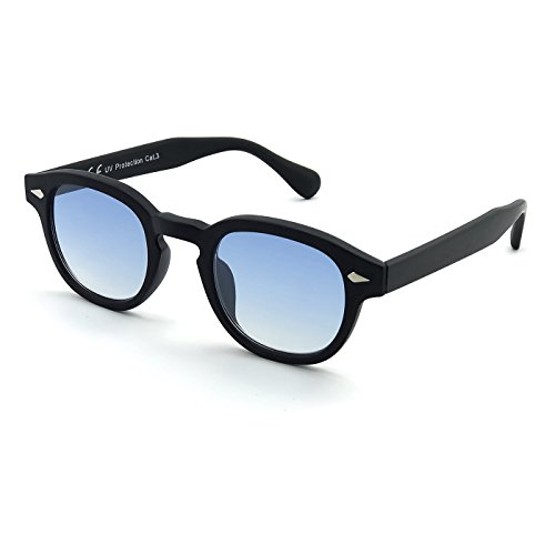 KISS Occhiali da sole stile MOSCOT mod. DEPP ICONIC - Johnny Depp uomo donna VINTAGE unisex - SOFT BLUE