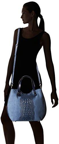 Chicca Borse Damen 80046-1 Umhängetasche, 40x33x14 cm Blau (Blu)