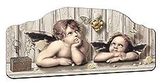 Idea Regalo - Lupia Quadro Capezzale su tavola lavorata Cupids Brown, 42x92 cm