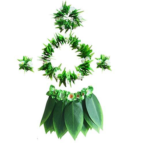 Männer Kostüm Hawaiian - Fortuning's JDS Frauen Männer Hawaiian Luau Sun Blumen Armbänder Hula-Kostüm-Set für grüne Blätter(5Pcs)