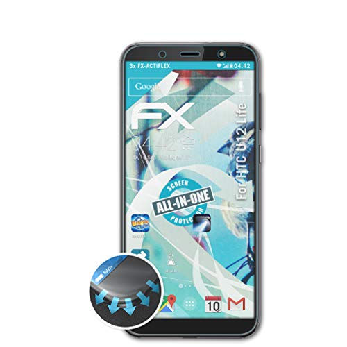 atFolix Schutzfolie passend für HTC U12 Life Folie, ultraklare & Flexible FX Bildschirmschutzfolie (3X)