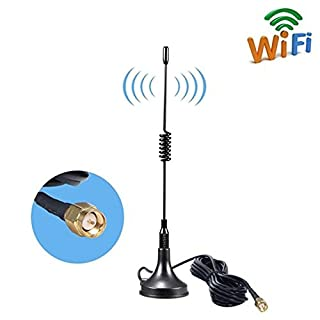 SMA 4G Magnet Mount Antenna,11DBI GSM High Gain 4G LTE Antenna Wifi Signal Booster Amplifier Modem Adapter Network Reception Long Range Antenna With 3M Wi-Fi Antenna Extension Cable SMA ( Black )