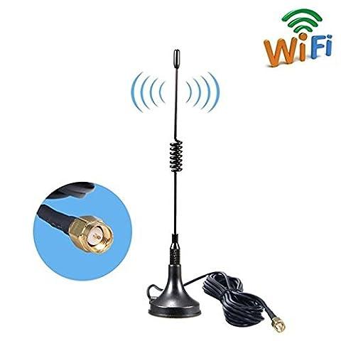SMA 4G Antenna, 9DBI GSM High Gain 4G LTE Wifi Signal Booster Amplifier Modem Câble d'antenne avec socle magnétique, 3 m(SMA