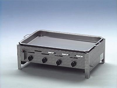 Gasgrill/ Grill 4er aus Edelstahl mit Stahlblechpfanne, 60 mm hoch