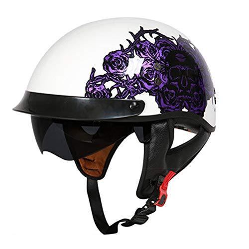 Motorrad offeneGesicht Halbhelm, Dot Zertifizierung Frp Retro Harley Motorrad Crash Helm mit eingebauten Sonnenbrille für Erwachsene Jugend Männer Frauen,H,M