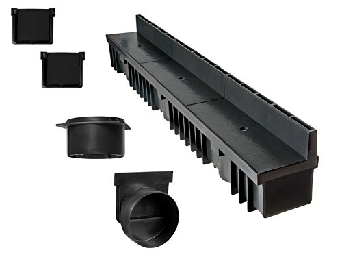'S'lon Caniveau à Fente 5 m (kit Complet) | Plastique Noir Classe B125 | Type 70 (caniveaux)