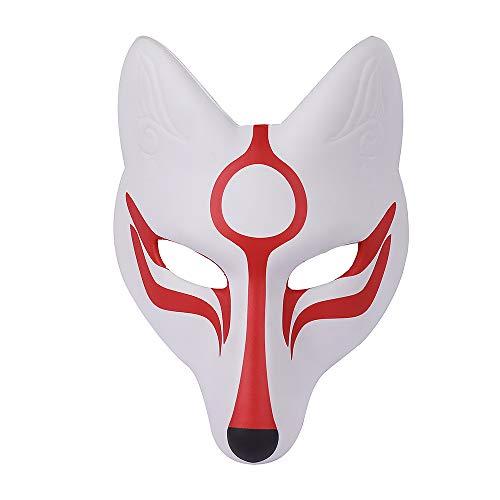 Karneval Kostüm Cosplay Fox Maske für Erwachsene Kinder (weiß, M) ()