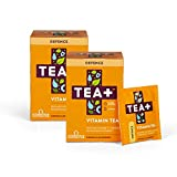 TEA+ (Tea Plus) Defence Vitamin C Tea - Green Herbal Tea Bags with Echinacea Supplement - Orange Blueberry Fruit Flavour - Pack of 2 x 14 Day Supply