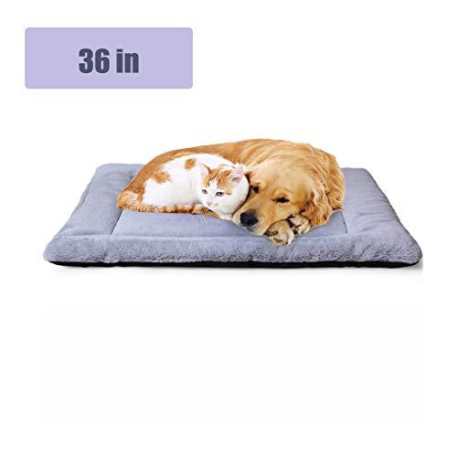 PETSGO Haustierbett, strapazierfähiges Haustierbett für Hunde und Katzen, Hundebett für Käfig, Auto, Verschiedene Szenen, Rassen, alle Jahreszeiten, 36in, grau -