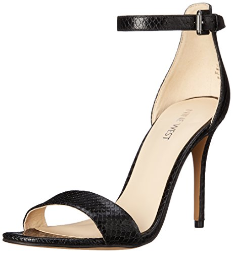 Nine West Mana sintetico tacco del sandalo Black Textured