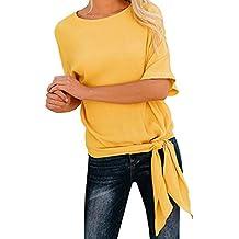 Blusa Hombre Yesmile Camiseta Blusa de Nudo básica Casual para Mujer Frente Floja Camiseta de Media