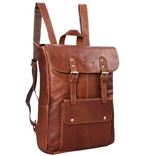 STILORD 'Manila' Vintage Leder Rucksack Damen Herren XL Lederrucksack DIN A4 braune Rucksackhandtasche mit 15,6 Zoll Laptopfach großer Daypack aus echtem Leder, Farbe:cognac - braun