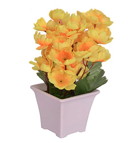 Pindia Artificial Yellow Flower Plant with Pot for Home and Office Decor (8x8x17, cms)  available at amazon for Rs.230
