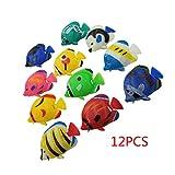 Dabixx Schwimmende Tropische Plastikfische, 12 Stück DIY Schwimm Kunststoff Tropische Fische Aquarium Dekoration Baby Badespielzeug - Farbe zufällig