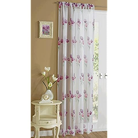 White Sheer Voile Panel Slotted Top With Purple Tulip Design 55 x 48 Drop by Supplied by Maple Textiles