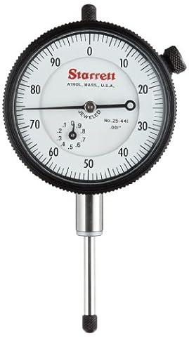 Starrett 25–441J Cadran Indicateur, 1cm Tige de diamètre, Lug-on-centre Dos, cadran blanc, 0–100lecture, 0–2,5cm Range, 0cm Graduation