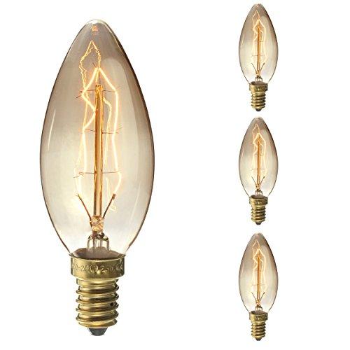 25 Licht-kerzen-kronleuchter (E14 Edison Glühbirne, 3x Elfeland Vintage Kerzenbirne 25W Antike Deko Glühbirne)