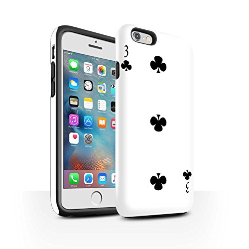 STUFF4 Matte Harten Stoßfest Hülle / Case für Apple iPhone 6 / Pik-König Muster / Kartenspielen Kollektion 3 von Kreuz