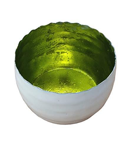 Teelicht Spiegel (netproshop Strahlender Teelichthalter Windlicht Limone, Metall Außen Weiß Emailliert 7,5x5 cm, Auswahl:Lemon)