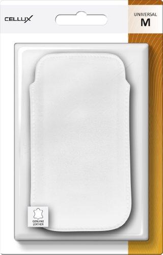 Cellux Echtleder Tasche Größe M (Apple iPhone 3G/3GS/4/4S, Galaxy S 3 mini, HTC Desire S, Nokia 620 und weitere Geräte) weiß weiß