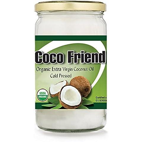 1 Litro Coco Friend Aceite de coco extra virgen orgánico crudo Prensado en frío USDA orgánico Certificado no GMO