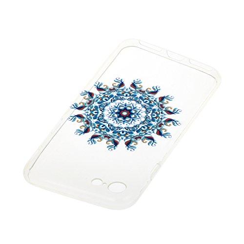 Etsue TPU Schutzhülle für iPhone 7 4.7 Zoll 2016 Silikon Handyhülle Case Cover, iPhone 7 4.7 Zoll 2016 Muster Ultradünnen Weiche Kristall Klar Durchsichtig Rückseite Tasche Etui Bumper Kratzfeste, Ein Mandala Orient Indien