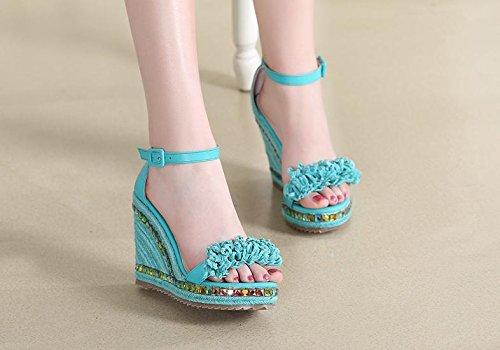 BaiLing Sandales d'été pour femme / talon compensé à la main en paille tricotée imperméable / épaisseur / tassel chaussures de petite taille Green