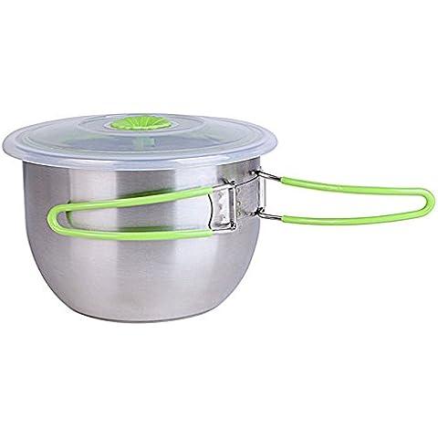 macdiaz ciotole con coperchio in acciaio inox contenitore per alimenti Tazza multiuso (Verde)