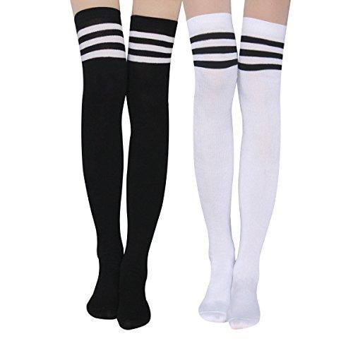 Damen Kniestrümpfe - Overknee Strümpfe Streifen Lange Socken Retro Knitting Strümpfe Mädchen Cheerleader Sportsocken Baumwollstrümpfe (Schwarz-Weiß)