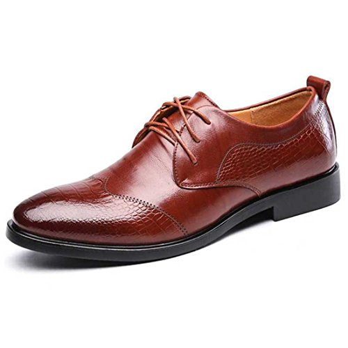 Men's Split Leather Solid Lace Up Formal Shoes brown