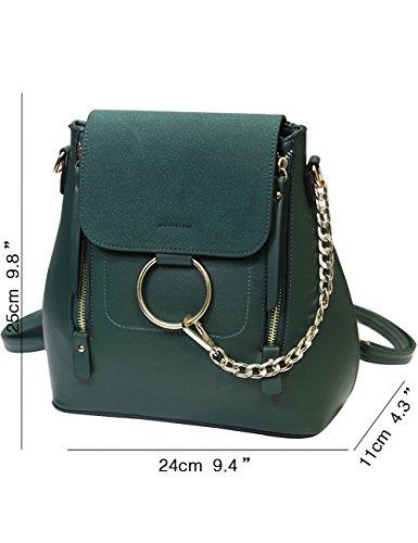 Menschwear PU Zaino Satchel Daypack sacchetto di scuola Verde Verde