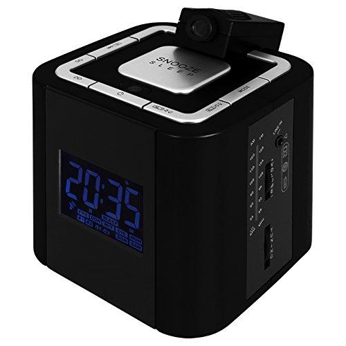 TW24 Wecker - Uhr - Radio - Funkuhrradio mit Projektor mit Farbauswahl (Schwarz)