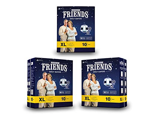 """FRIENDS Overnight Unisex Adult Diapers Extra Large Waist Size (48""""- 68"""" Inch) 30 Pcs"""