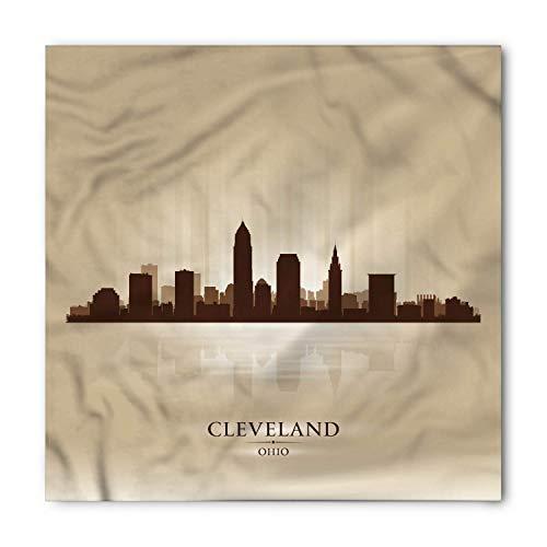 TKMSH Cleveland Bandana, Monochrome City Panorama, Unisex Head and Neck Tie,Unisex Bandana Head and Neck Tie Neckerchief Headdress Silk-Like 100% Polyester -S -